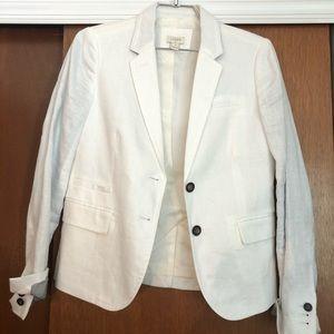 White linen J. Crew Factory Blazer Jacket